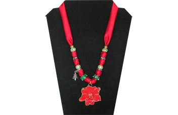Christmas Poinsettia Necklace