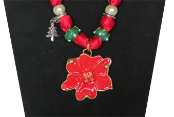 Closeup of Poinsettia Christmas Necklace
