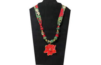 Christmas necklace with poinsettia pendant