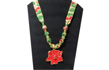 Christmas Necklace with Red Poinsettia Pendant