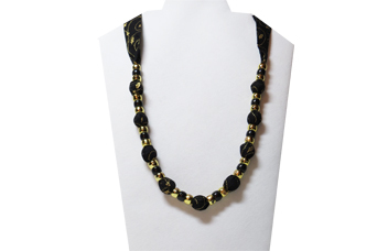 Christmas Necklace with gold holly leaves and gold beads