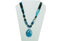 Various blue tone fabric necklace with blue/turquoise looking stone