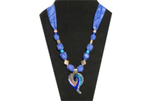 Blue necklace with multi-colored glass pendant