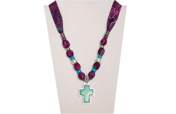 Purple necklace with turquoise colored cross in metal