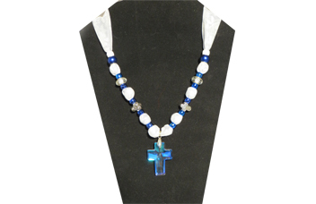 Clear Cross pendant with sheer white and gray fabric