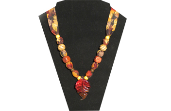 Rich fall theme necklace with glass leaf pendant