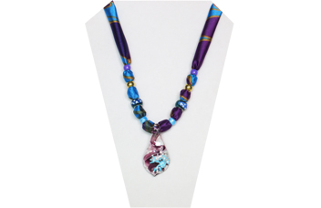 Fun necklace with purple and blue multi-color silky fabric and a glass pendant sporting a blue tree frog.