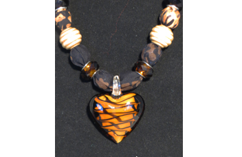 Necklace with Heart shaped glass pendant