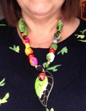Bright ladybug necklace