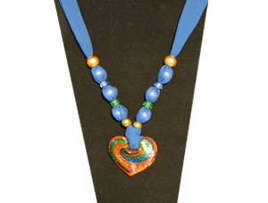 Indigo blue sheer fabric necklace with multi-color red heart pendant