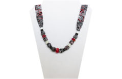 Black, Red and White paisley cotton necklace with beads.