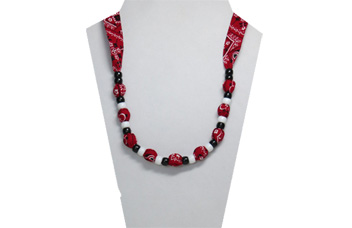 Cute cotton necklace made with red bandana cotton fabric and pony peads.