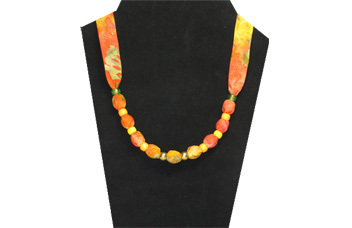 Bright orange and yellow necklace with pony beads
