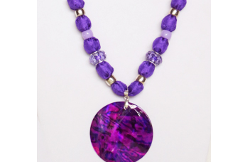Purple silky necklace with round purple shell pendant