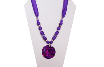 Purple silky necklace with purple shell pendant