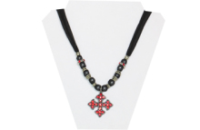 Black sheer necklace with red rhinestone cross pendant and silver tone beads