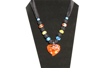 Red heart pendant necklace with black fabric