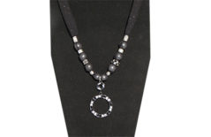 Black sheer ties in necklace with metal round dressy rhinestone pendant