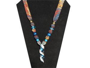 Necklace with teal spiral tube glass pendant