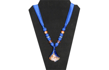 Indigo blue necklace with glass bell flower pendant
