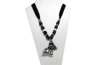 Black necklace fabric with glass butterfly pendant