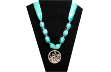 Sea green necklace with silky fabric and silver metal with sea theme