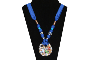 This elegant necklace has a cloisonne looking round glass pendant with red, blue, green, copper, silver and black colors. The silky fabric is a royal blue color and the beads are copper tone metal, silver tone metal, clear faceted and silver tone flower with rhinestone in center.