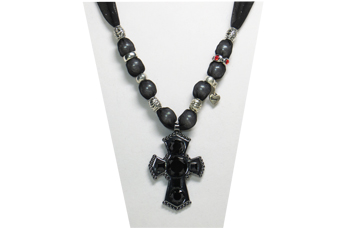 "This necklace has sparkly sheer ties with a metal cross pendant with black faceted insets. There are various silver tone metal beads, some plain, some with designs, one with red rhinestones and a cute charm with the word ""love""."
